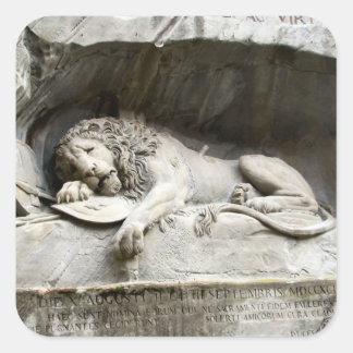 Het monument van de leeuw, Luzerne Vierkante Sticker