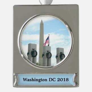 Het Monument van Washington en het Gedenkteken van Verzilverd Banner Ornament