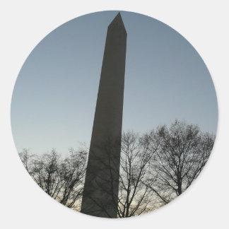 Het Monument van Washington in de Winter II de Ronde Sticker