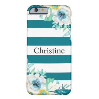 Het mooie Bloemen Modieuze Blauwgroen Wit van de Barely There iPhone 6 Hoesje
