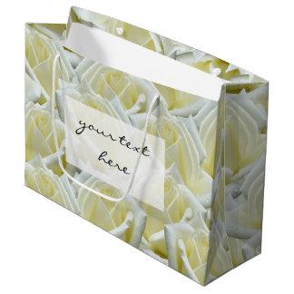 het mooie bloemen witte ontwerp van de rozenfoto groot cadeauzakje