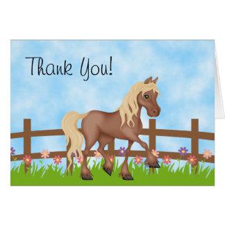 Het mooie Bruine Paard en de Leuke Bloemen danken Kaart