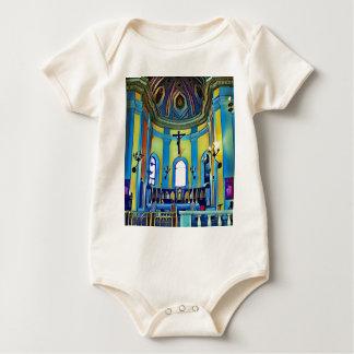 Het mooie Gele Blauwe Trillende Altaar van de Kerk Baby Shirt