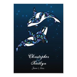 Het mooie Huwelijk van het Strand van de Walvissen 12,7x17,8 Uitnodiging Kaart