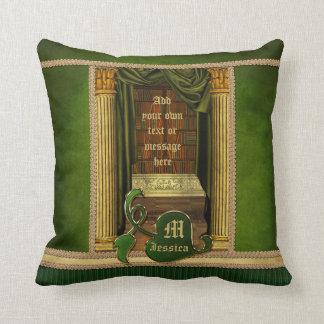 Het mooie Klassieke Groene Gordijn van de Boeken Sierkussen