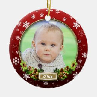 Het mooie (rode) Lijst van de Foto van Kerstmis Rond Keramisch Ornament