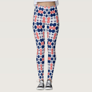 Het mooie Rode Witte Blauwe Patroon van de Ster Leggings