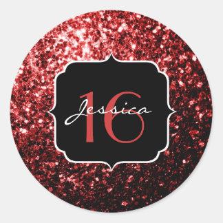 Het mooie Rood van de Glamour schittert Snoepje 16 Ronde Sticker