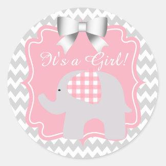 Het mooie Roze Baby shower van de Olifant Ronde Stickers