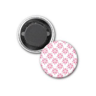 Het mooie Roze en Witte Patroon van de Bloem van Ronde Magneet 3,2 Cm