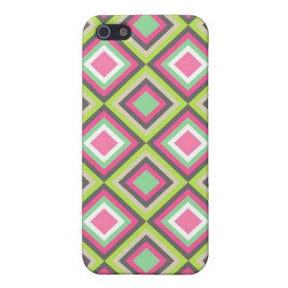 Het mooie Roze Groene Grijze Vierkante Patroon van iPhone 5 Cases