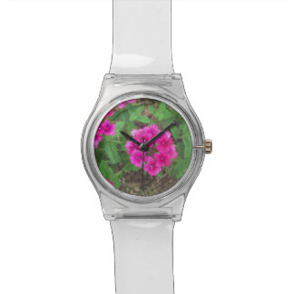 Het mooie roze ijzerkruid bloeit bloemenfoto polshorloge