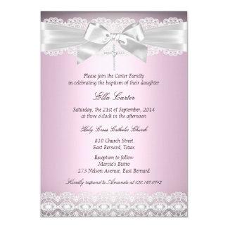 Het mooie Roze Kant & het DwarsDoopsel nodigen uit 12,7x17,8 Uitnodiging Kaart
