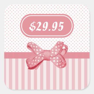 Het mooie Roze Prijskaartje van de Boog van de Vierkante Sticker