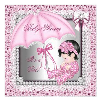 Het mooie Roze Witte Baby shower van het Meisje 13,3x13,3 Vierkante Uitnodiging Kaart