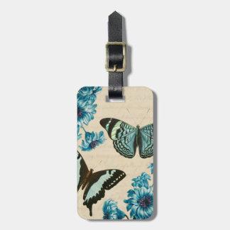 Het mooie turkooise label van de vlinderbagage kofferlabel