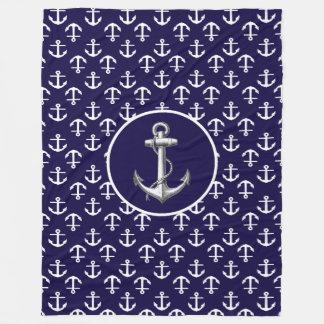 Het mooie Witte en Blauwe ZeevaartPatroon van het Fleece Deken