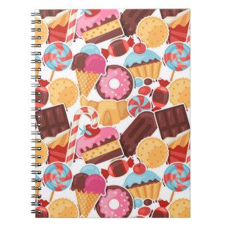Het Naadloze Patroon van het snoep en van Palooza Ringband Notitieboek