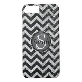 Het Naambord van de chevron - Black&SilverGlitter iPhone 8/7 Hoesje