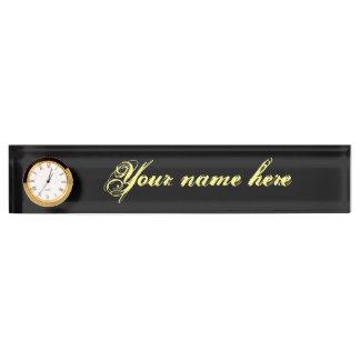 Het Naambord van het bureau met Klok