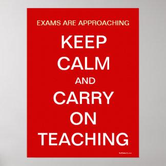 Het Naderbij komen van examens houdt het Kalme Poster