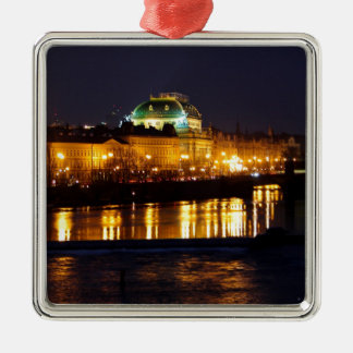 Het Nationale Theater van Praag Zilverkleurig Vierkant Ornament