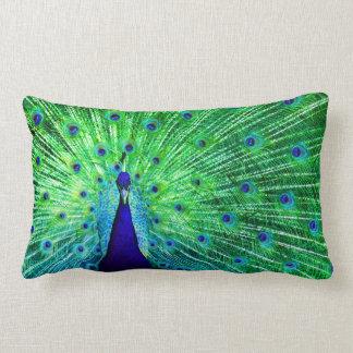 Het Neon van de pauw Lumbar Kussen