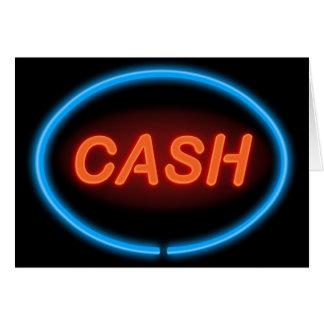 Het neon van het contante geld wenskaart