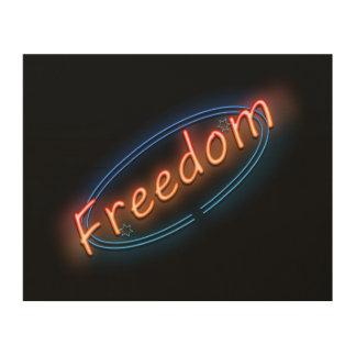Het neonteken van de vrijheid hout afdruk