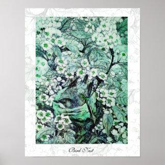 Het NEST van de VOGEL, witte groen Afdruk