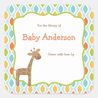 Het neutrale Baby Bookplates van de Giraf van het Vierkante Sticker
