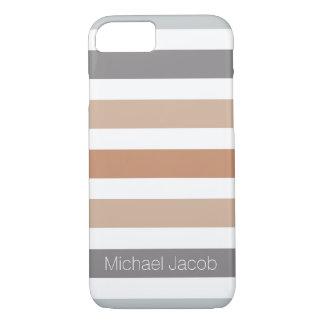 Het neutrale Grijze Monogram van de Tendens van de iPhone 7 Hoesje