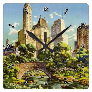 Het New York Verenigde Vintage Halftone Poster van Vierkante Klok
