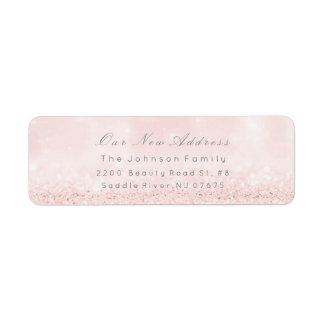 Het nieuwe Adres bloost Zilveren Roze Blauwe Etiket