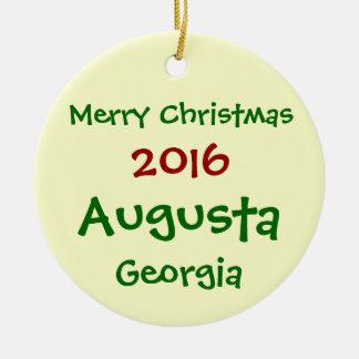 HET NIEUWE AUGUSTA GEORGIË VAN 2016 VROLIJKE ROND KERAMISCH ORNAMENT