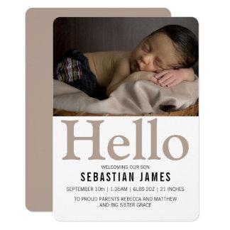 Het Nieuwe Baby Gepersonaliseerde Taupe van Hello Kaart