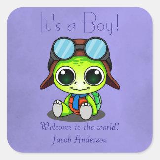 Het Nieuwe Baby van de leuke Schildpad van de Vierkante Stickers