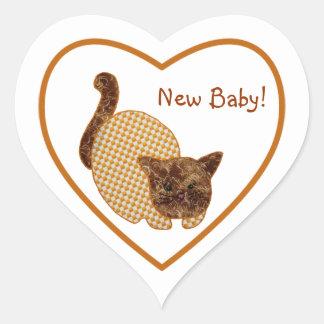 Het Nieuwe Baby van de leuke van het Land Kat van Hartvormige Stickers