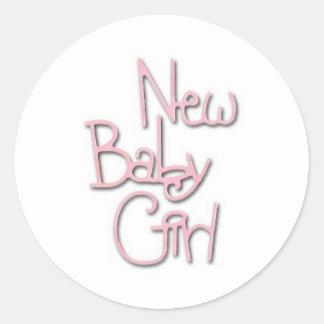 Het nieuwe Meisje van het Baby Ronde Sticker