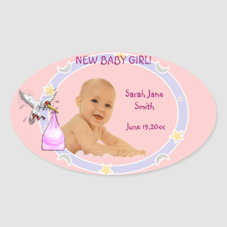 Het nieuwe Meisje van het Baby Ovaalvormige Sticker