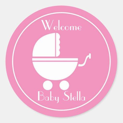 Het nieuwe Vervoer van het Baby van het Meisje van Ronde Sticker