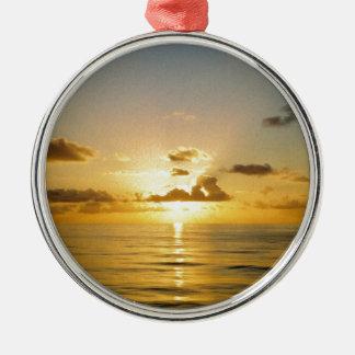 Het Noorden van de zonsondergang van de Bermudas Zilverkleurig Rond Ornament