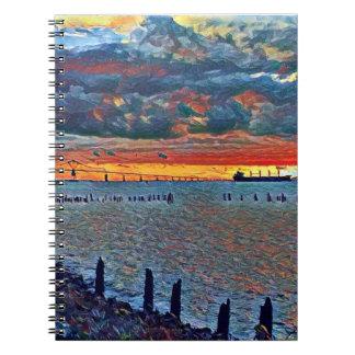 Het Notitieboekje van de brug en van het Zee Ringband Notitieboek