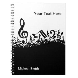 Het Notitieboekje van muzieknoten met de Naam van Notitie Boeken