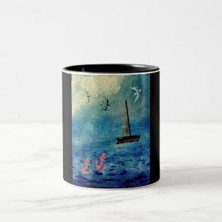 Het oceaan Blauw van de Ankers van de Zeilboot op Tweekleurige Koffiemok