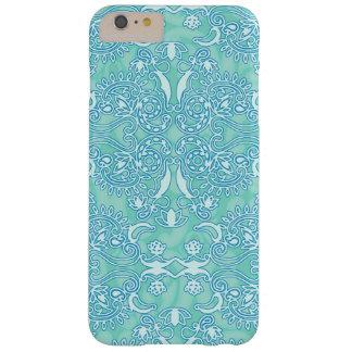 Het oceaan Blauwe Grungy Damast beëindigt Barely There iPhone 6 Plus Hoesje