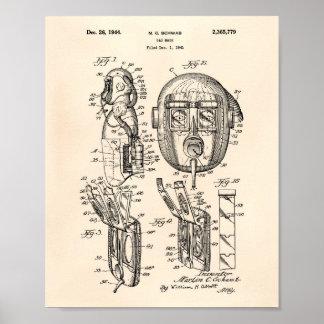 Het Octrooi Kunst Oude Peper van het gasmasker Poster