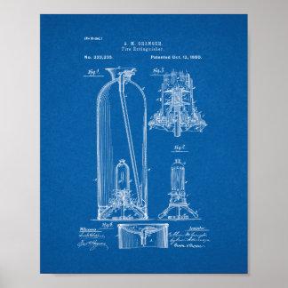 Het Octrooi van het Brandblusapparaat - Blauwdruk Poster
