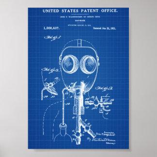 Het Octrooi van het gasmasker - Blauwdruk Poster