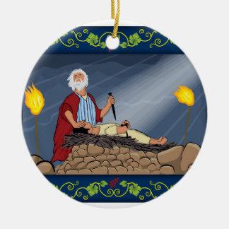 Het offer van Abraham en van Isaac Rond Keramisch Ornament